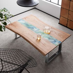 Handamde Live Edge Coffee Table With Resin Art Detail - furniture