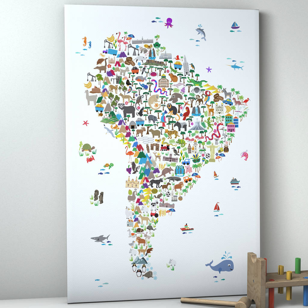 image regarding Printable Maps of South America called Animal Map South The usa Childrens Print