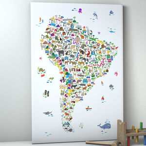 Animal Map South America Childrens Print - pictures & prints for children