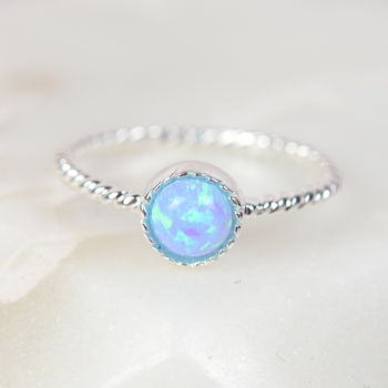 Sterling Silver And Blue Opalique Ring