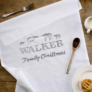 Personalised Polar Bear Family Christmas Tea Towel