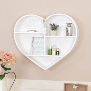 White Wooden Heart Shaped Wall Shelf - furniture