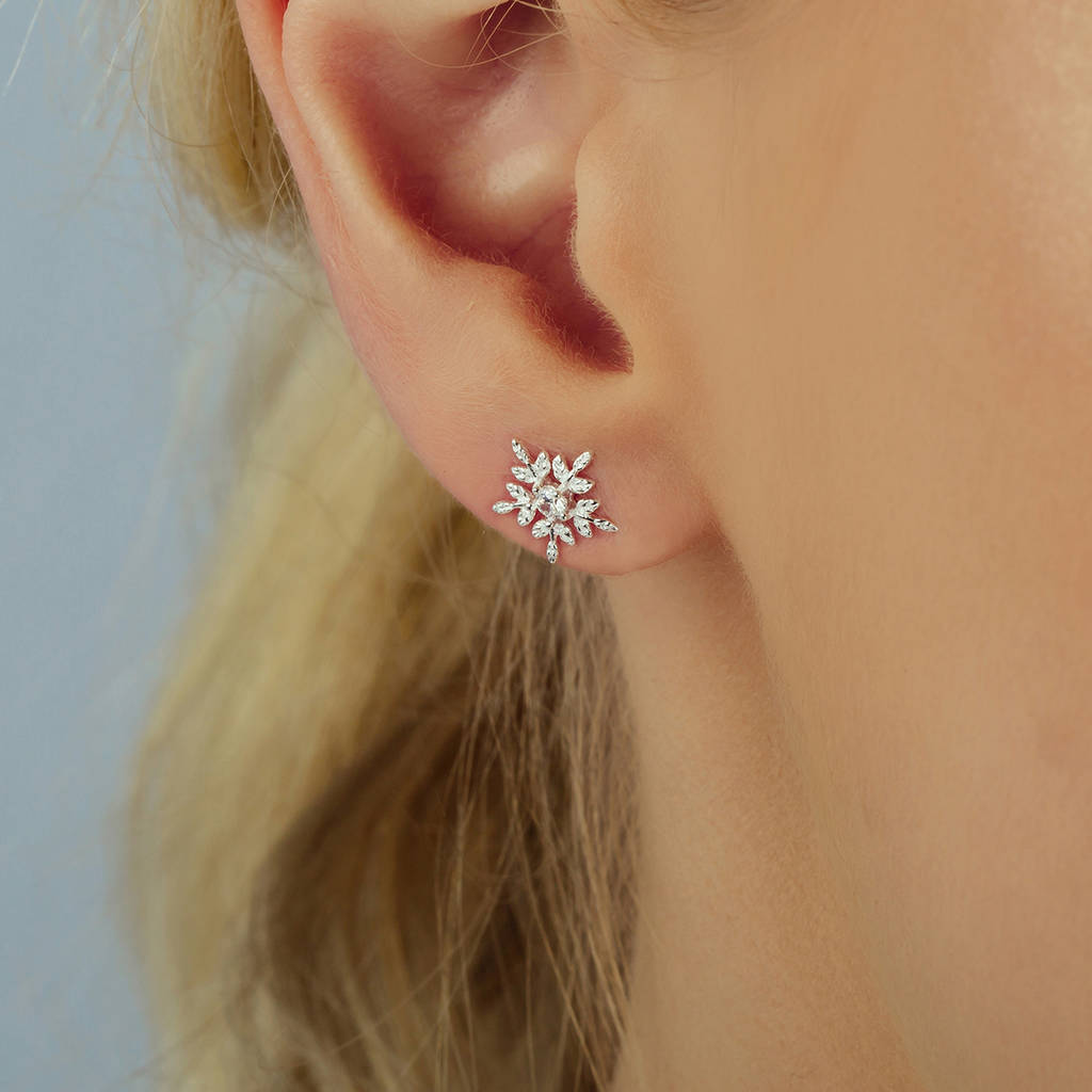 Silver Glistening Snowflake Earrings Studs Or Necklace by Attic