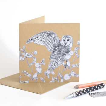 Barn Owl Recycled Greetings Card