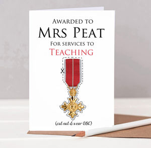 Personalised Teacher Medal Card - thank you cards