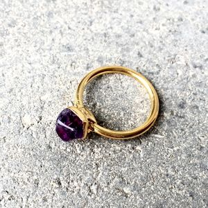 Organic Shaped Amethyst Stacking Ring - winter sale