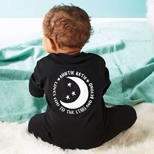 Personalised Love You To The Stars And Beyond Baby Sleepsuit - winter sale