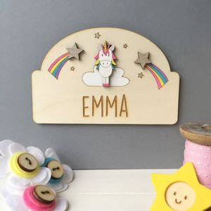 Personalised Unicorn Door Plaque - children's room