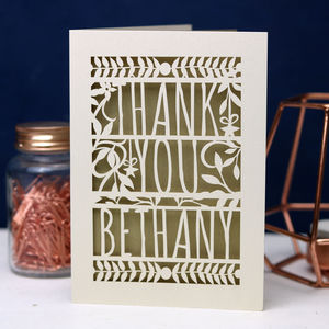 Personalised Papercut Floral Thank You Card - thank you cards