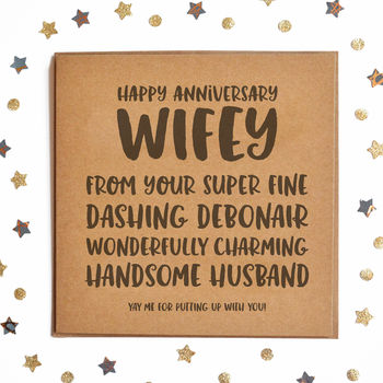 Happy Anniversary Wifey Square Card