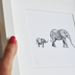 Framed Mummy And Baby Elephant Safari Print - drawings & illustrations