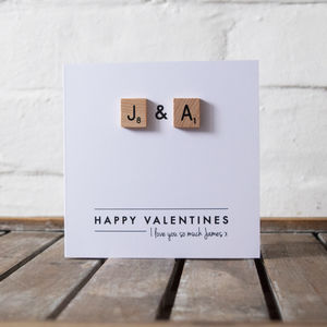 Personalised Scrabble Couple Valentines Card - valentine's cards