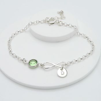 Personalised Birthstone And Infinity Bracelet