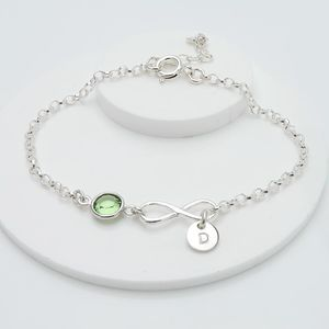 Personalised Birthstone And Infinity Bracelet - bracelets & bangles