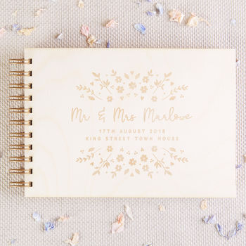 Floral Wooden Wedding Guest Book