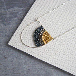 Curve Beaded Silver Necklace - new in jewellery