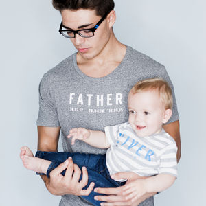 Personalised Father And Baby T Shirt Set