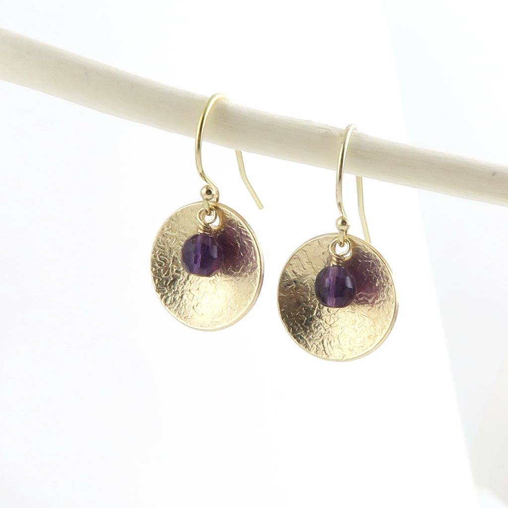 Amethyst And Gold Disc Earrings February Birthstone