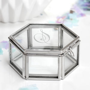 Personalised Mini Glass Jewellery Box With Initial