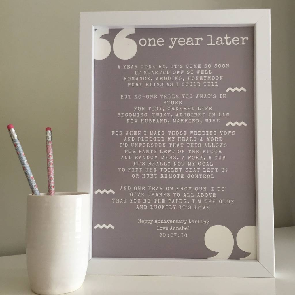 First anniversary poem for st paper by