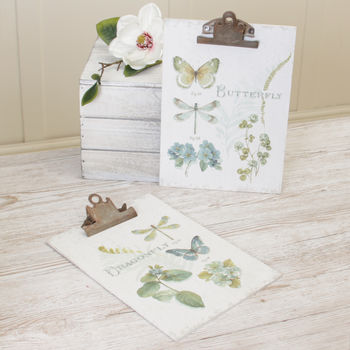 Set Of Two Wall Mounted Botanical Butterfly Clip Boards