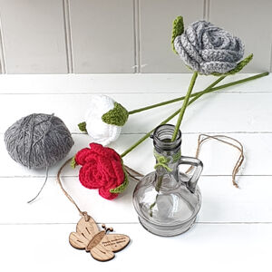 Personalised 7th Wool Rose With Vase