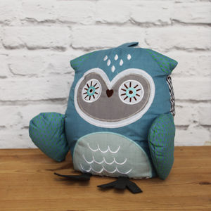 Fabric Gingham Owl Door Stop - children's room