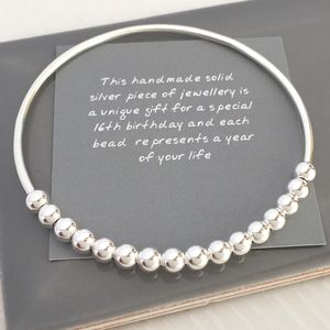 16th Birthday Handmade Silver Beads Bangle