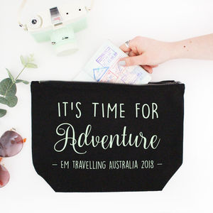 Large Personalised Adventure Travel Make Up Bag