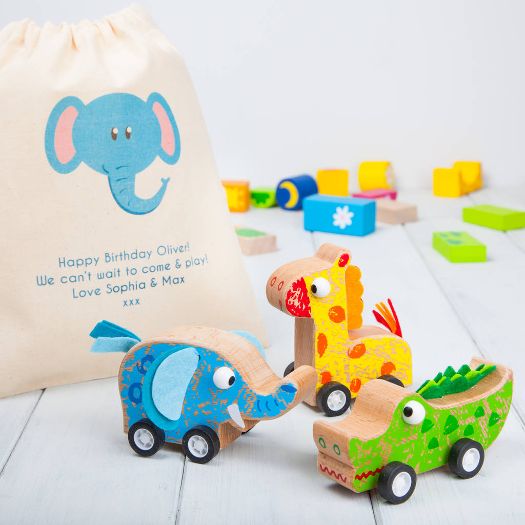 Wood Pull Back Safari Animal Cars And Personalised Bag