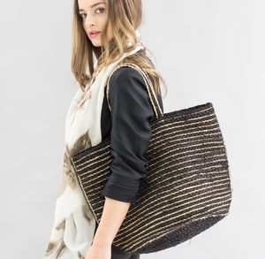 Black And Gold Braided Shopping Bag