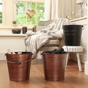 Burnished Copper Fireside Bucket - home sale