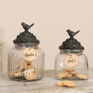 Personalised Vintage Birds Cookie Jars - sale
