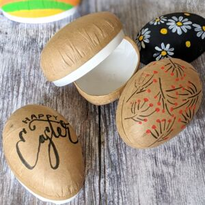 Brown Kraft Paper Mache Easter Egg Containers Fillable