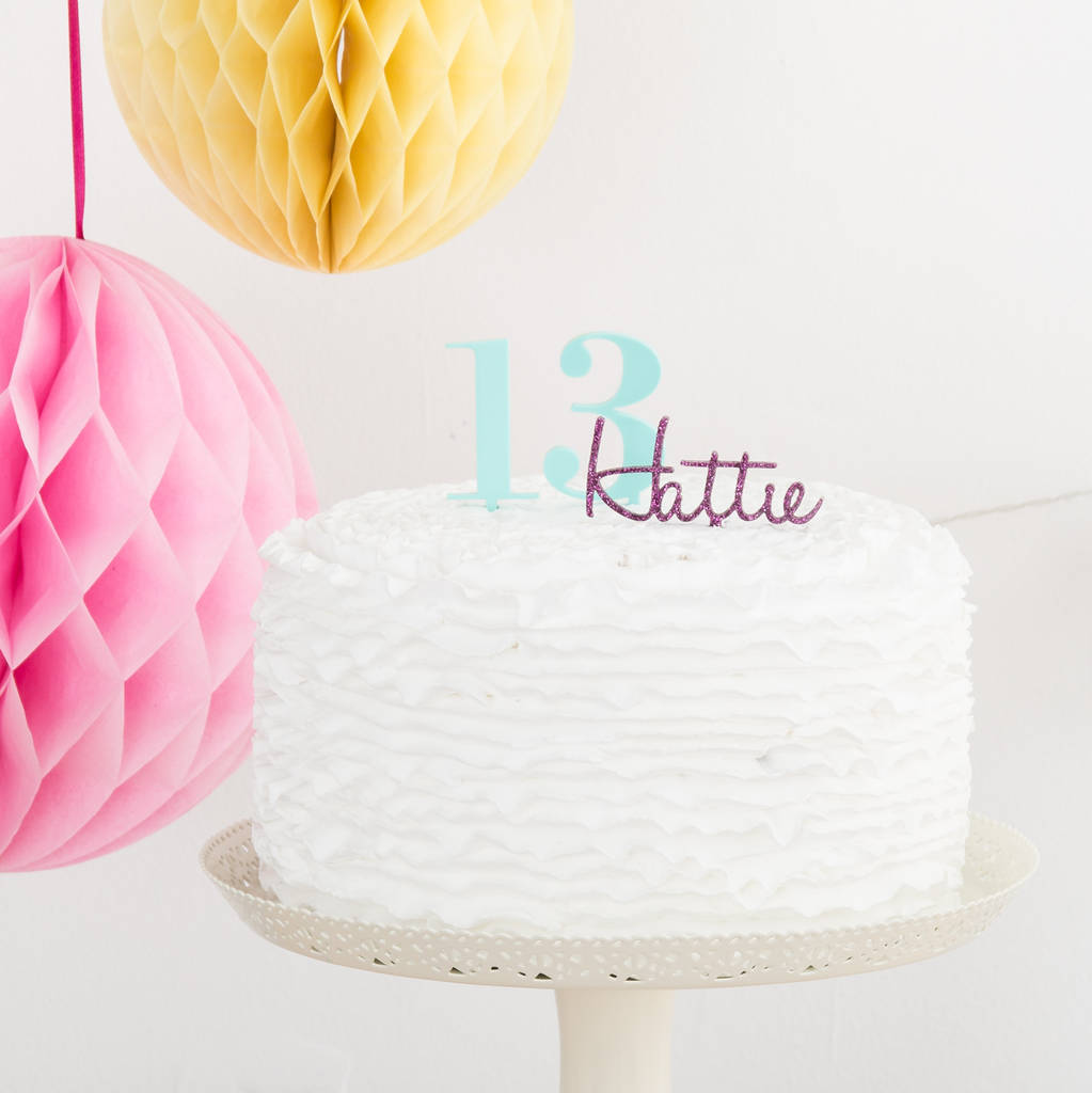 Name And Number Birthday Cake Topper Set