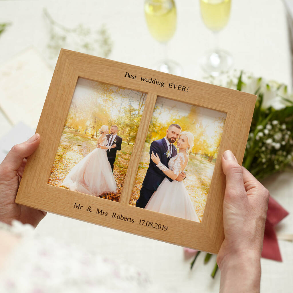 Solid Oak Double Aperture Personalised Photo Frame