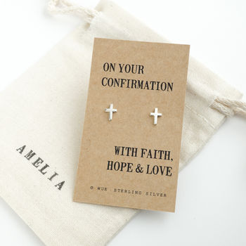 Confirmation Silver Cross Earrings