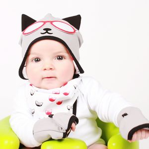 Baby's Kitty Cat Hat, Bib And Gloves Gift Set