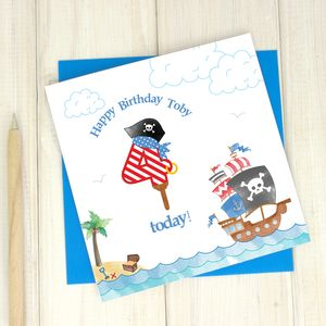 Personalised 4th Birthday Pirate Card