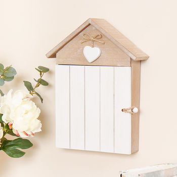 Wooden Key Storage House With Heart