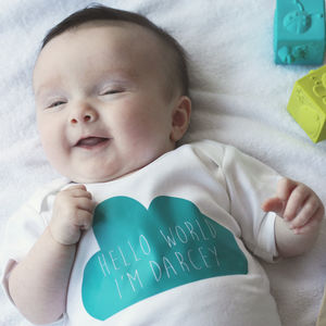 Personalised Hello Cloud Babygrow - new baby gifts