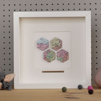 Personalised Four Hexagons Map Picture