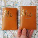 Mr And Mrs Personalised Leather Passport Gift Set