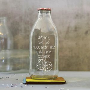 Personalised 'Milk And Cookies' Traditional Milk Bottle