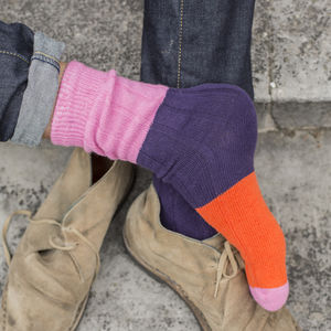 Pink Block Chunky Rib Sock - new in fashion