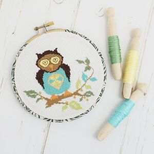 Cross Stitch Owl. Embroidery Hoop Gift Set
