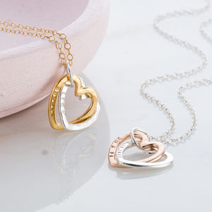 Personalised Interlinking Hearts Necklace With Gold - for her
