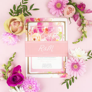 Rose Bloom Wedding Invite Sample Pack - save the date cards