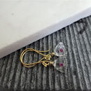 Pink Sapphire Rough Quartz Earrings In Gold Vermeil