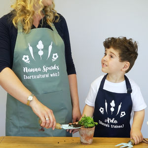 Personalised Veg Gardening Apron Set - gifts for grandparents
